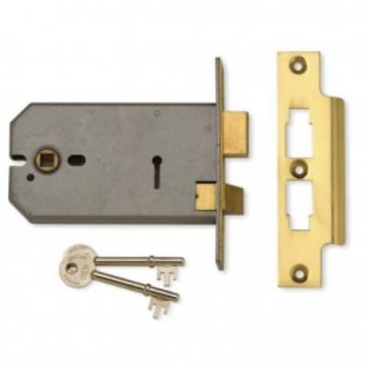 Union 2077 3 Lever Horizontal Mortice Lock Case Polished Brass