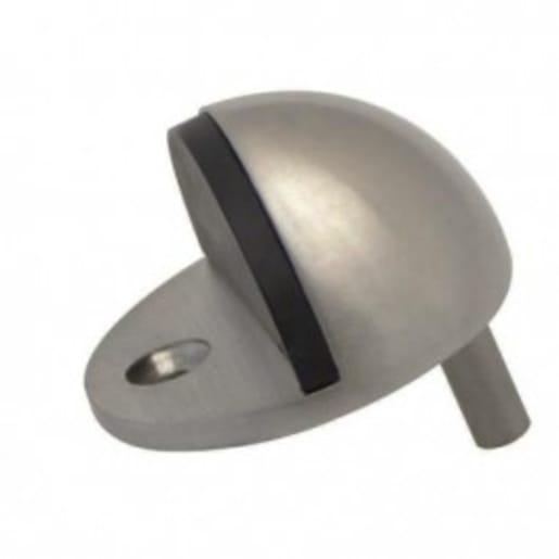 Frisco Shielded Oval Floor Mounted Door Stop Satin Chrome