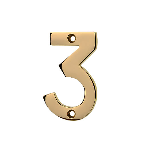 Frisco Face Fix '3' Numeral 76mm H Polished Brass