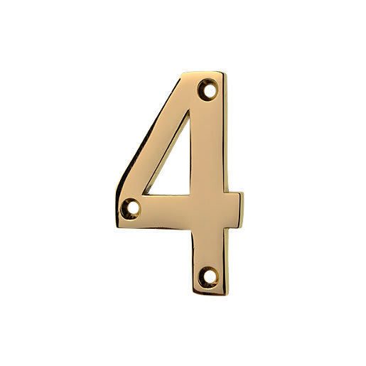 Frisco Eclipse Numeral '4' Face Fix 76mm L Polished Brass