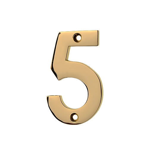 Frisco Eclipse Numeral '5' Face Fix 76mm L Polished Brass