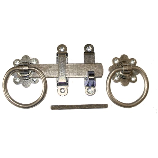 A Perry No.1138 Plain Ring Gate Latch Set With Straight Latch 180mm