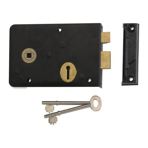 Union 1439 Lever Rim Lock Left Handed 152mm Black