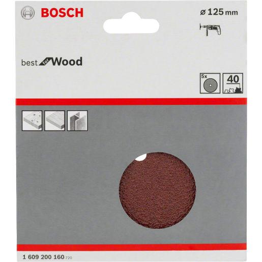 Bosch Sanding Discs 40 Grit 125mm Dia Brown Pack of 5