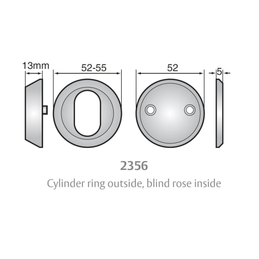 Assa Abloy 2356 Accessory Set 13mm Diameter Cylinder Ring Plus Rose