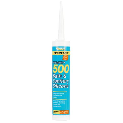 EVERBUILD EVERFLEX Premium+ 500 Bathroom Sealant 295ml White