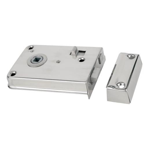 Legge 2143 Rim Latch with Internal Locking Deadbolt 108mm Silver
