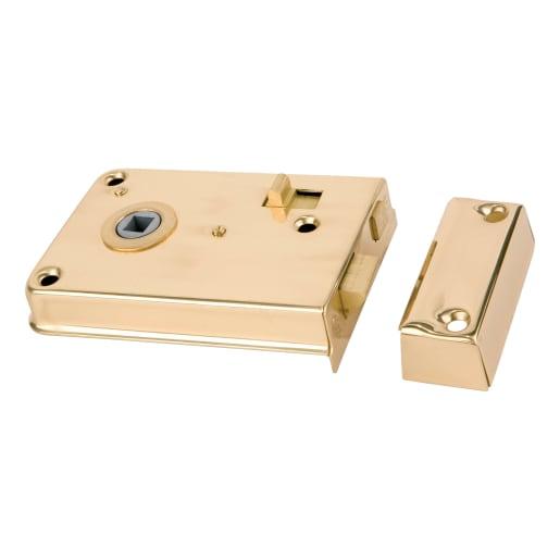 Legge 2143 Rim Latch with Internal Locking Deadbolt 108mm Pol Brass