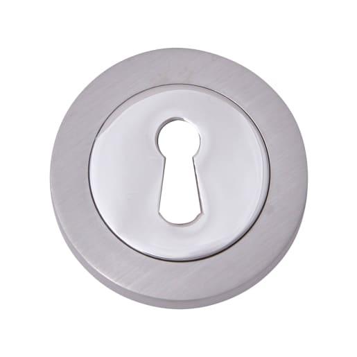 Fortessa Keyhole Escutcheon 8 x 51mm Satin Chrome/Polished Chrome