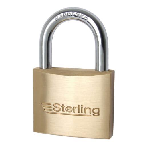 Sterling Brass Padlock Keyed Alike 40 x 14.2mm Chrome Plated