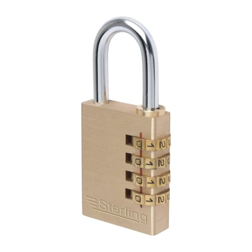 Sterling Brass 4 Dial Combination Padlock 37.5 x 12.3mm