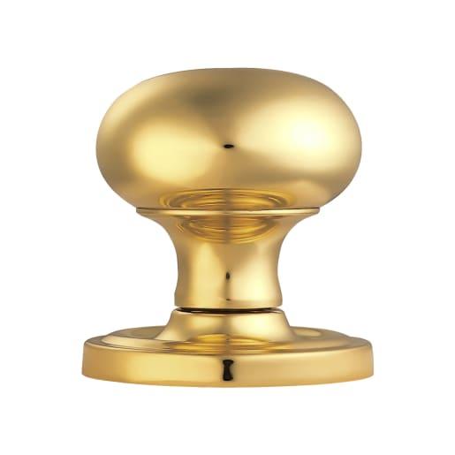 Manital Mushroom Mortice Knob 59mm Dia Polished Brass