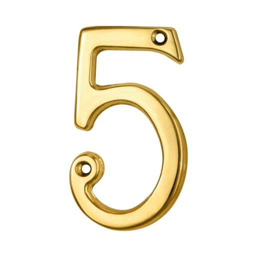 Carlisle Brass Numeral 5 Face Fix Number 73 x 42 x 5mm Polished Brass