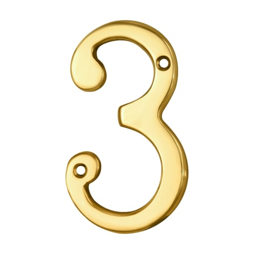 Carlisle Brass Numeral 3 Face Fix Number 75 x 42 x 4mm Polished Brass