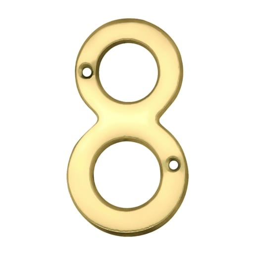 Carlisle Brass Numeral 8 Face Fix Number 75 x 42 x 4mm Polished Brass