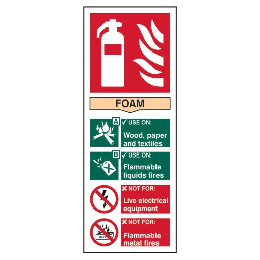 Spectrum 'Foam Fire Extinguisher' Sign 202 x 82mm