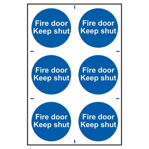 Spectrum 'Fire Door Keep Shut' Self Adhesive Sign 300 x 200mm (H x W)
