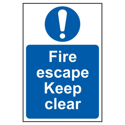 Spectrum 'Fire Escape Keep Clear' Sign Self Adhesive 300 x 200mm