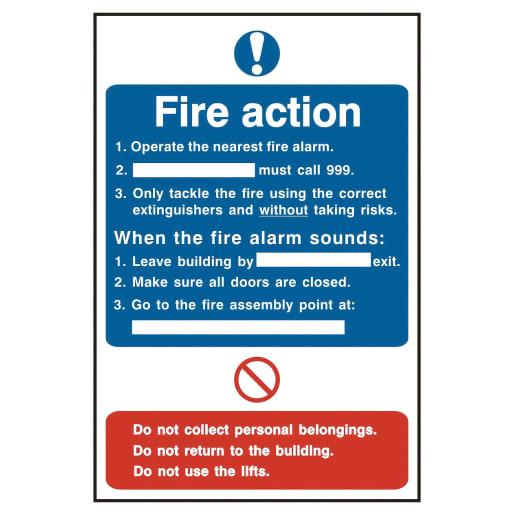 Spectrum 'Fire Action Procedure' Sign Self Adhesive 300 x 200mm