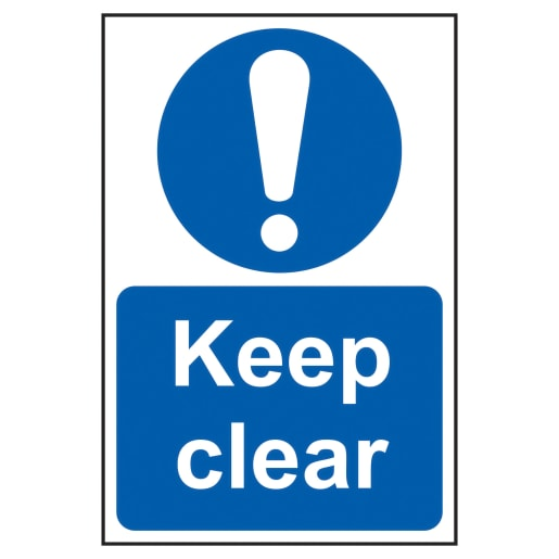 Spectrum 'Keep Clear' Sign Self Adhesive 300 x 200mm