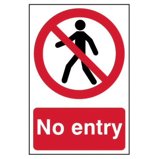 Spectrum 'No Entry' Self Adhesive Sign 300 x 200mm (H x W)