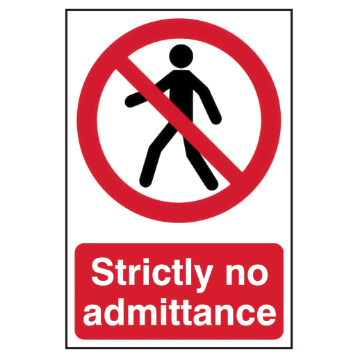 Spectrum 'Strictly No Admittance' Sign Self Adhesive 300 x 200mm