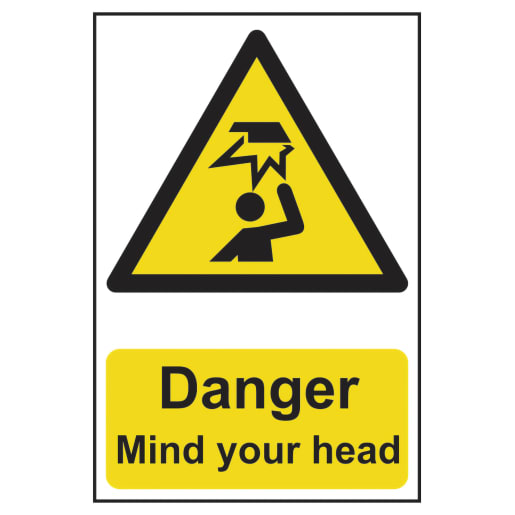 Spectrum 'Danger Mind Your Head' Sign Self Adhesive 300 x 200mm