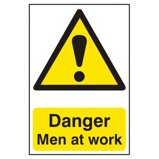 Spectrum 'Danger Men At Work' Self Adhesive Sign 300 x 200mm (H x W)