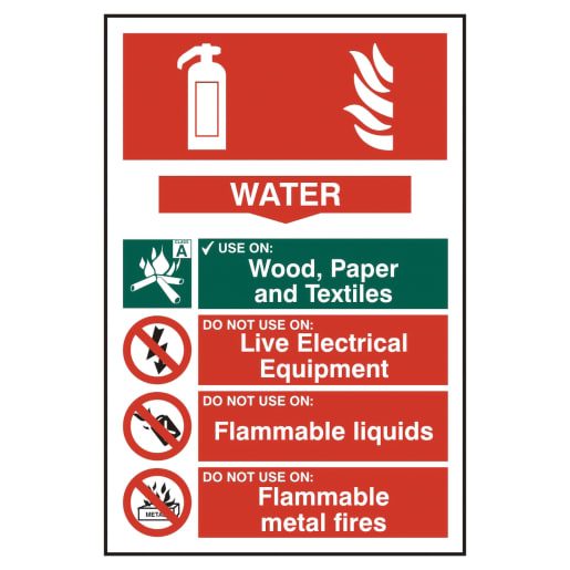 Spectrum 'Water Fire Extinguisher' Sign Self Adhesive 300 x 200mm