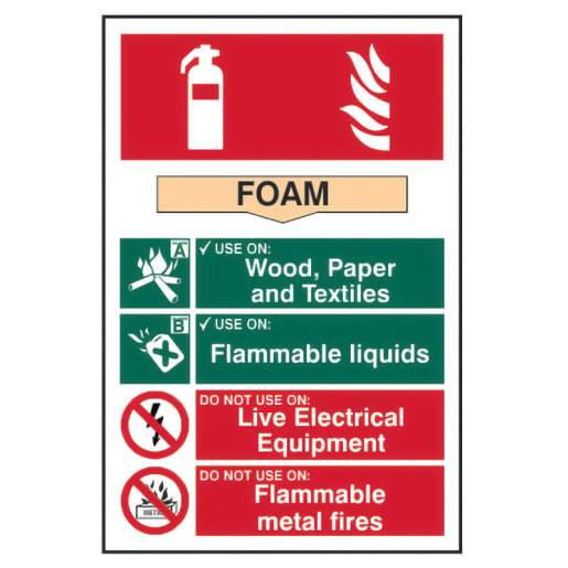 Spectrum 'Foam Fire Extinguisher' Sign Self Adhesive 300 x 200mm