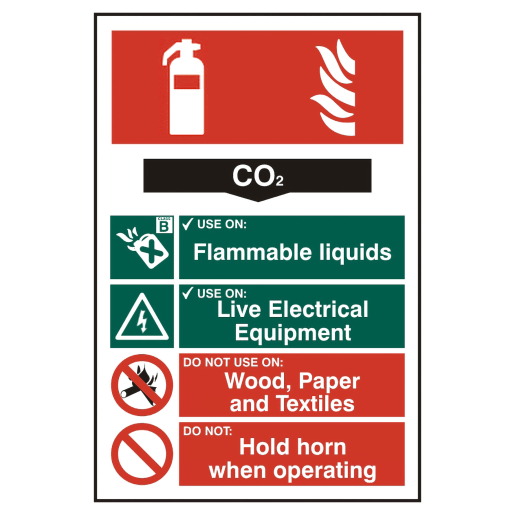 Spectrum 'CO2 Fire Extinguisher' Sign Self Adhesive 200 x 300mm