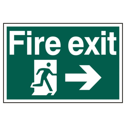 Spectrum 'Fire Exit Running Man Arrow Right' Self Adhesive Sign