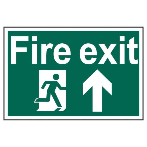 Spectrum 'Fire Exit Running Man Arrow Up' Sign 200 x 300mm