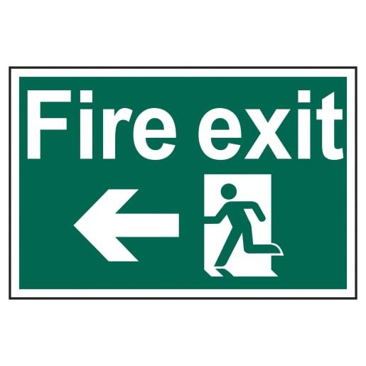 Spectrum 'Fire Exit Running Man Arrow Left' Self Adhesive Sign