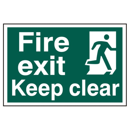 Spectrum 'Fire Exit Keep Clear Running Man' Self Adhesive Sign