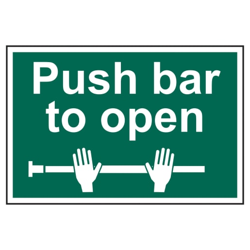 Spectrum 'Push Bar to Open' Self Adhesive Sign 200 x 300mm (L x W)