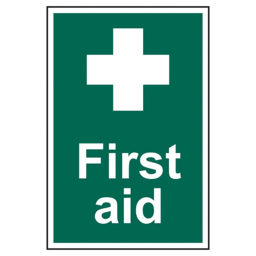 Spectrum 'Safety First Aid' Sign Self Adhesive 300 x 200mm