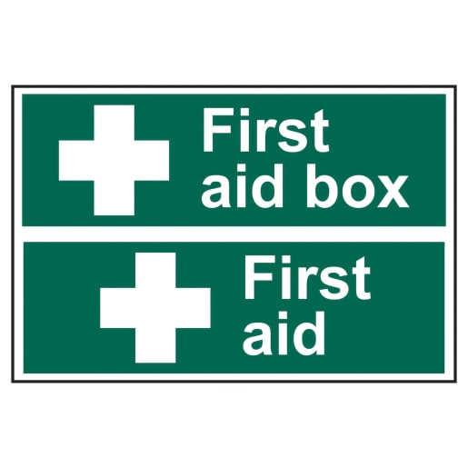 Spectrum 'First Aid /First Aid Box' Sign Self Adhesive 300 x 200mm