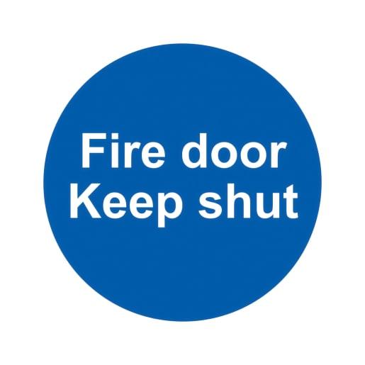 Spectrum 'Fire Door Keep Shut' Self Adhesive 100 x 100mm Pack of 10