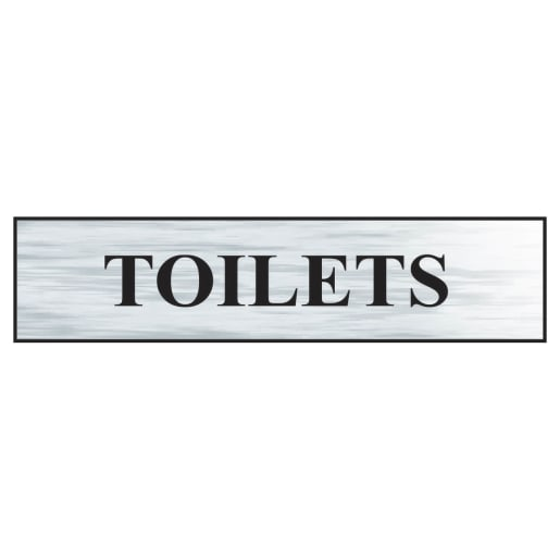 Spectrum 'Toilets' Sign Self Adhesive 60 x 220mm Brushed Silver