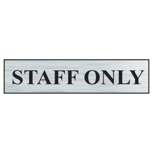 Spectrum 'Staff Only' Sign Self Adhesive 60 x 220mm Brushed Silver