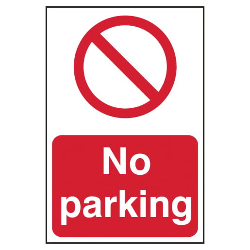 Spectrum 'No Parking' Sign Self Adhesive 600 x 400mm