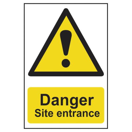 Spectrum 'Danger Site Entrance' Self Adhesive Sign 600 x 400mm (H x W)