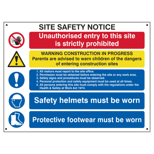 Spectrum 'Site Safety Notice' Self Adhesive Sign 800 x 600mm