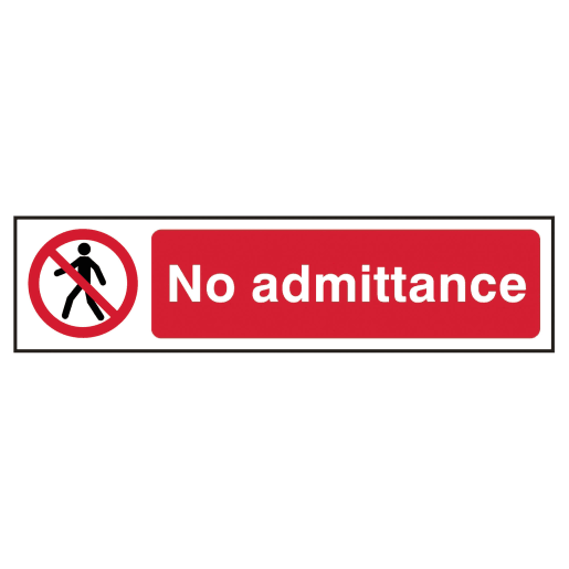 Spectrum 'No Admittance Prohibition' Sign Self Adhesive 50 x 200mm