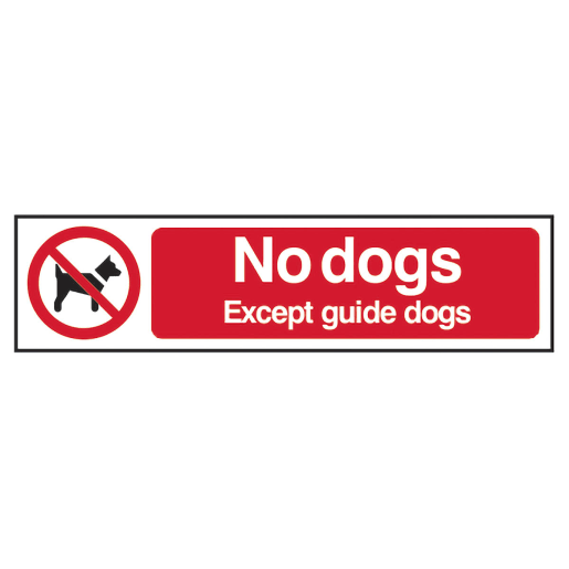 Spectrum 'No Dogs Except Guide Dogs Prohibition' Sign 50 x 200mm