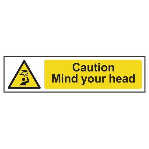 Spectrum 'Caution Mind Your Head' Sign Self Adhesive 50 x 200mm