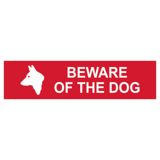 Spectrum 'Beware of The Dog' Sign Self Adhesive 50 x 200mm Red