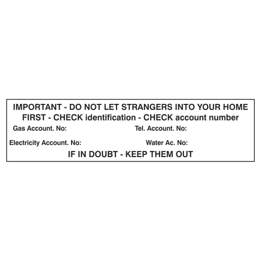 Spectrum 'Important-Do Not Let Strangers' Sign Self Adhesive