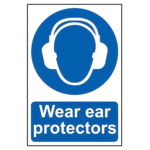 Spectrum 'Wear Ear Protectors' Sign Self Adhesive 300 x 200mm